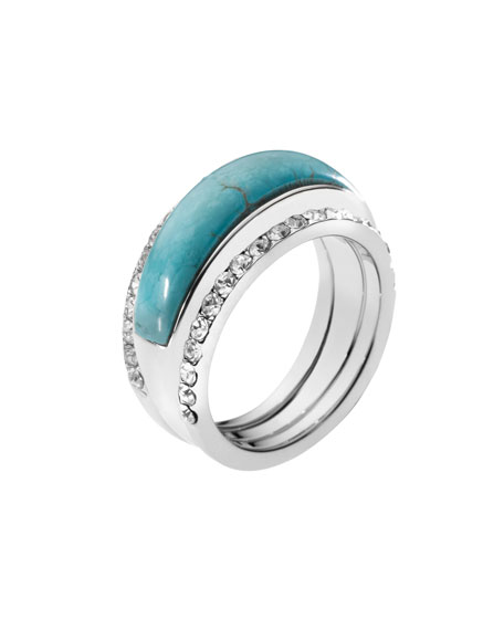 Pave Turquoise-Inset Ring, Silver Color