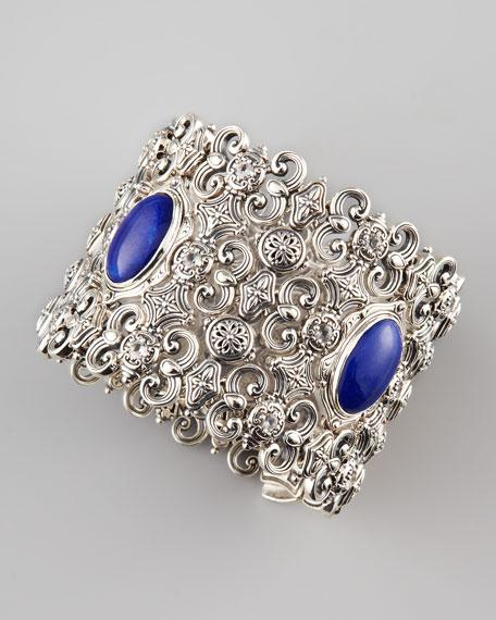 Wide Lapis & Carved Silver Bracelet