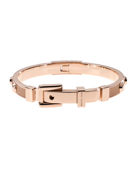 Astor Stud Buckle Bangle, Rose Golden/Buff