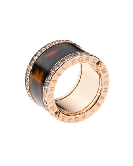 Pave Tortoise Barrel Ring, Rose Golden