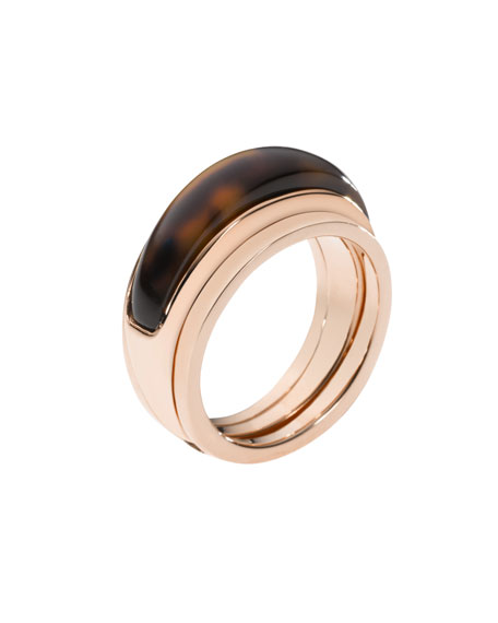 Tortoise-Inset Ring, Rose Golden