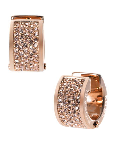 Pave Huggie Earrings, Rose Golden