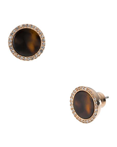 Tortoise Pave Slice Stud Earrings, Rose Golden
