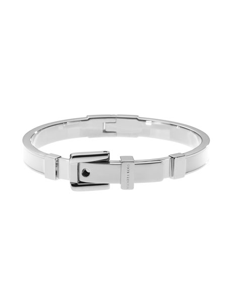 Buckle Enamel Bracelet, White Color