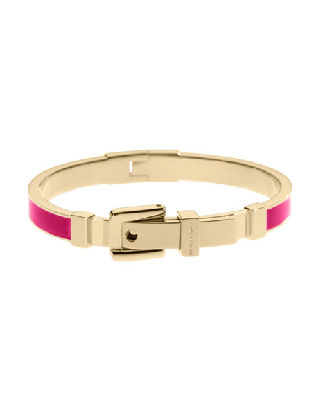 Enamel Buckle Bangle, Golden/Pink