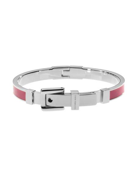 Buckle Enamel Bracelet, Pink/Silver Color