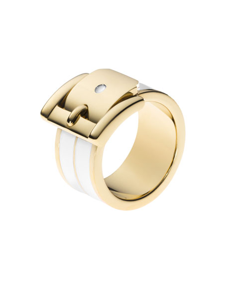 Buckle Ring, Golden/White