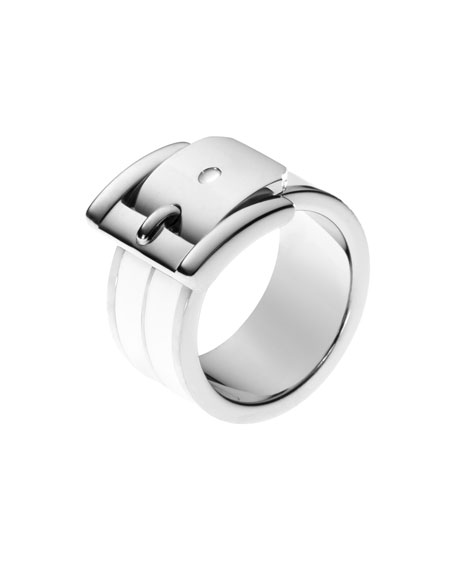 Buckle Ring, Silver Color/White