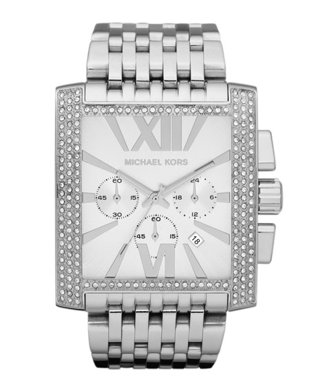 Mid-Size Silver Color Stainless Steel Gia Chronograph Glitz Watch
