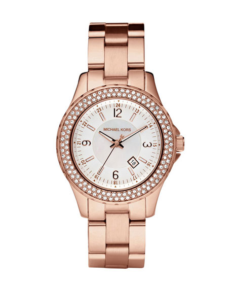 Mini-Size Rose Golden Stainless Steel Madison Chronograph Glitz Watch
