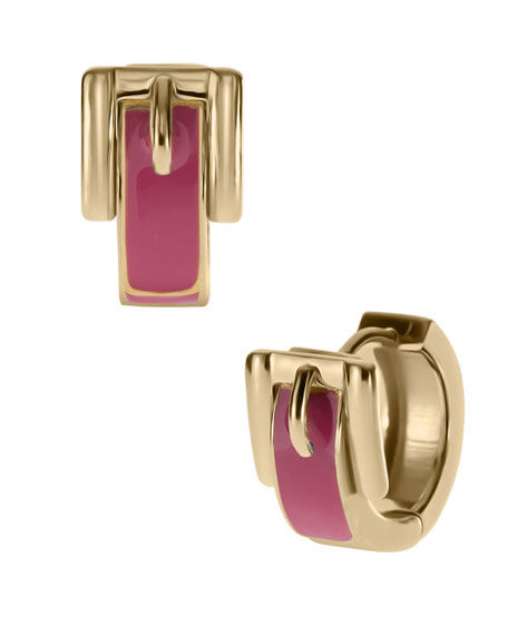 Buckle Huggie Earrings, Golden/Pink