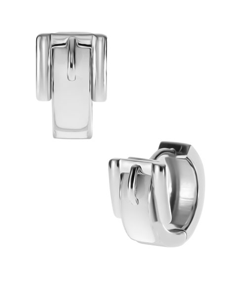 Buckle Huggie Earrings, Silver Color/White