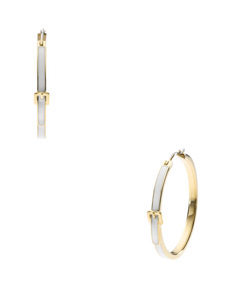 Buckle Hoop Earrings, Golden/White