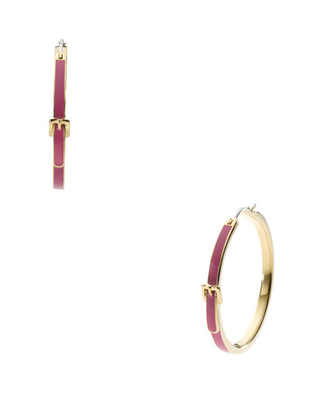Buckle Hoop Earrings, Golden/Pink