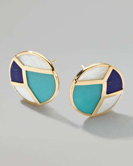 Gold Rock Candy Multi-Stone Mosaic Stud Earrings