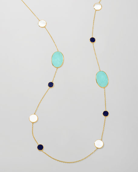 "Polished Rock Candy Multi-Stone Station Necklace, 37"""