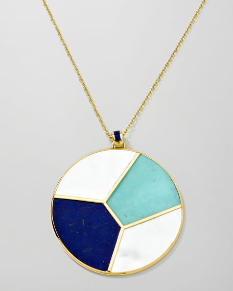 """Gold Rock Candy Mosaic Pendant Necklace, 36"""""""