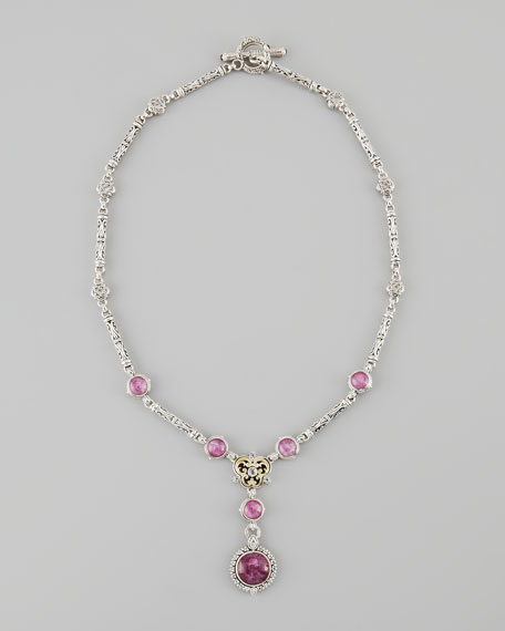 Ruby/Quartz Doublet Tube Filigree Necklace