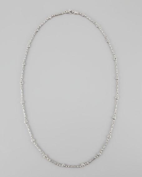 "White Topaz & Silver Filigree Necklace, 36""L"