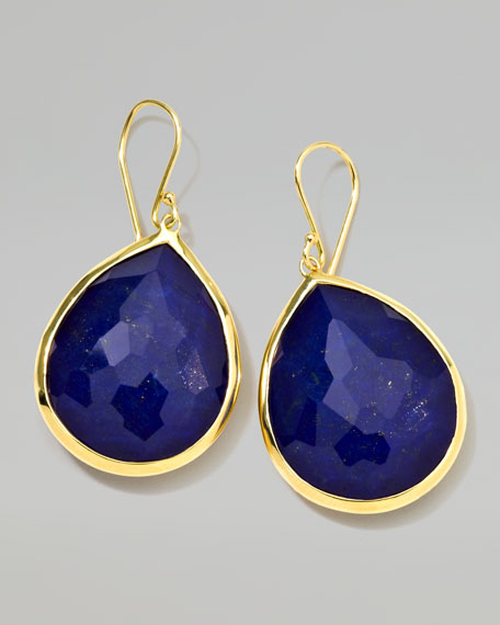18k Gold Rock Candy Large Lapis Teardrop Earrings