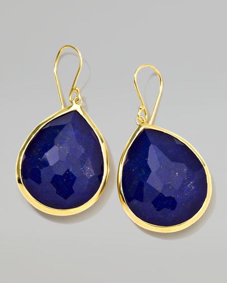 18k Gold Rock Candy Large Lapis Teardrop Earrings