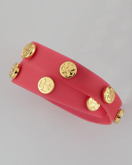 Logo-Studded Jelly Wrap Bracelet, Strawberry