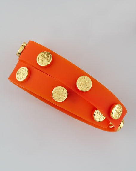 Logo-Studded Jelly Wrap Bracelet, Orange