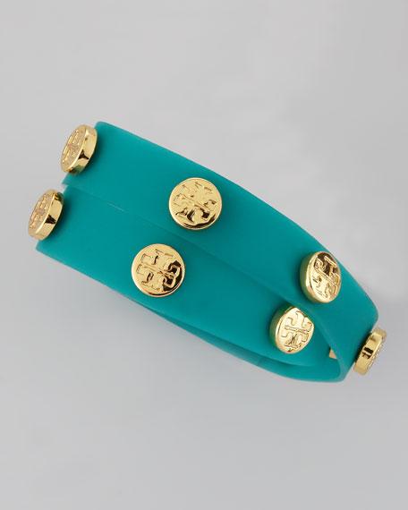 Logo-Studded Jelly Wrap Bracelet, Turquoise