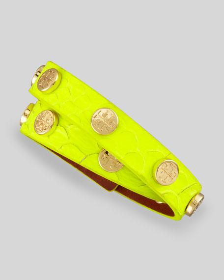 Logo-Stud Snake-Embossed Wrap Bracelet, Yellow
