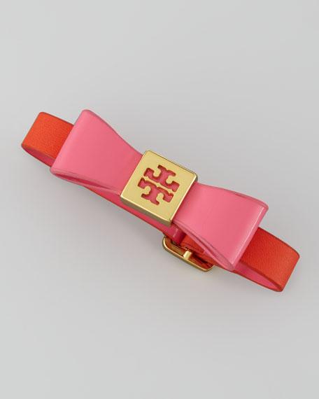 Leather Bow Bracelet, Orange