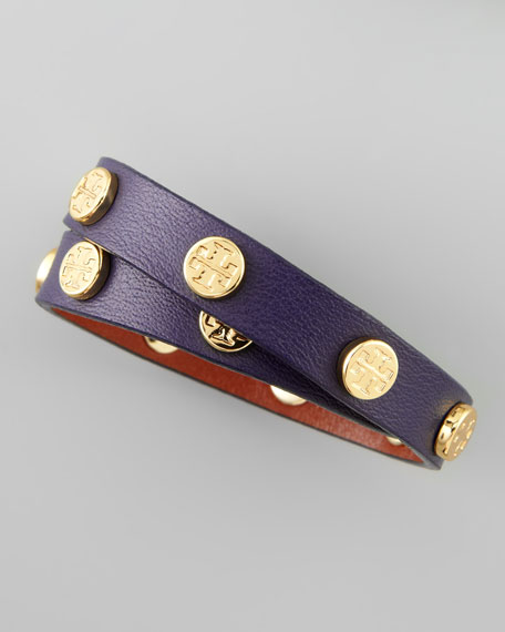 Logo-Studded Leather Wrap Bracelet, Purple