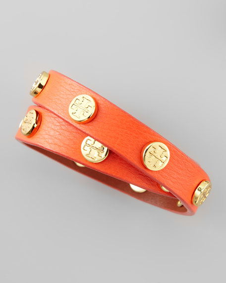 Logo-Studded Leather Wrap Bracelet, Orange
