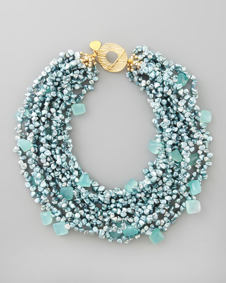 Blue Pearl & Chalcedony Necklace