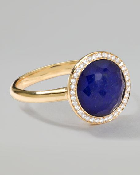 Rock Candy 18k Gold Mini Lollipop Diamond Ring, Lapis