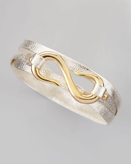 Sadie Metallic Triple-Wrap Bracelet, Platino