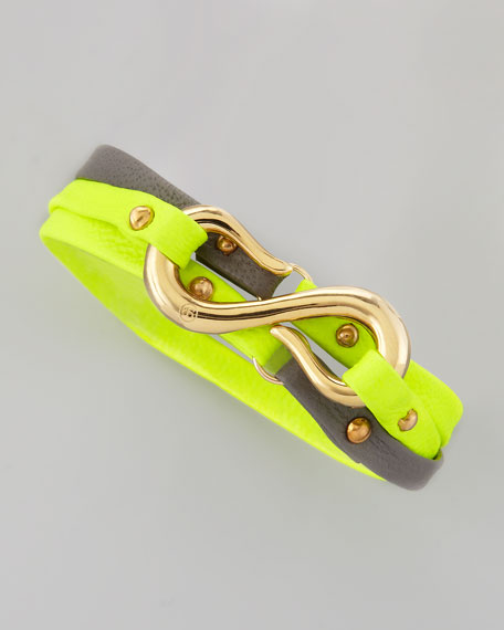 Sadie Bi-Color Triple-Wrap Bracelet, Neon Yellow/Gray