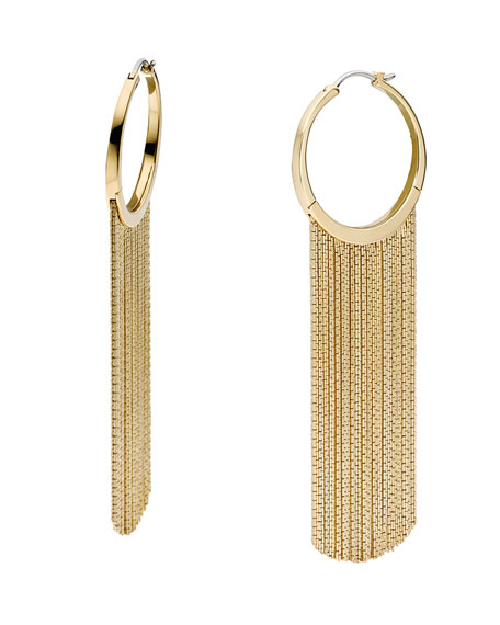 Hoop Fringe Earrings, Golden