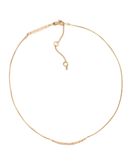 Pave Bar Necklace, Rose Golden