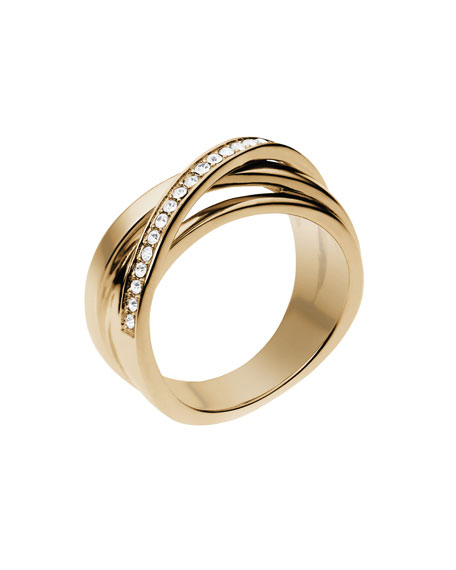 Pave Interwoven Ring, Golden