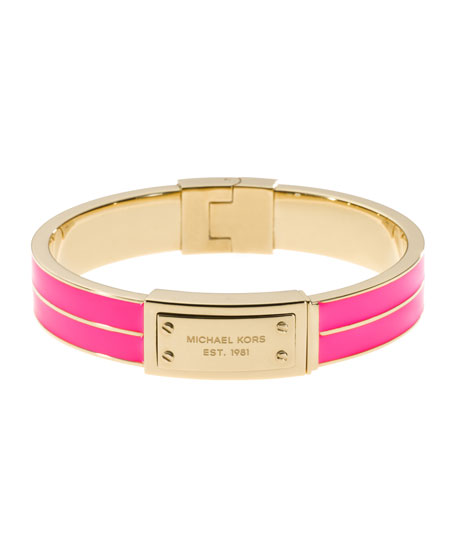 Plaque Hinge Bangle, Neon pink