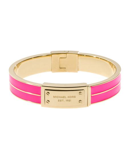 Plaque Hinge Bangle, Neon pink