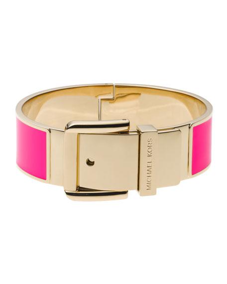 Buckle Enamel Bracelet, Neon Pink
