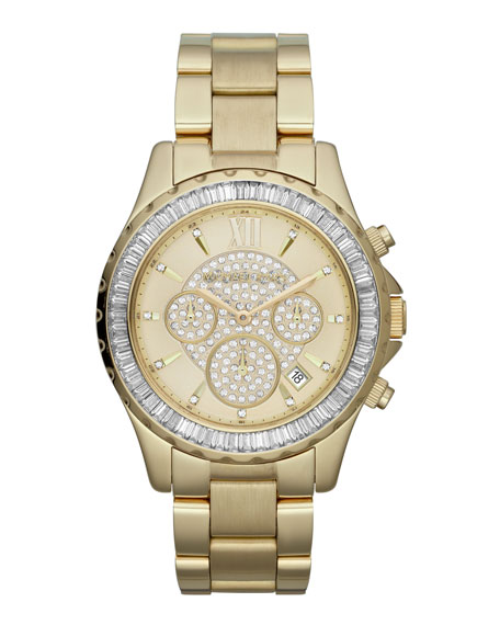 Mid-Size Golden Stainless Steel Madison Chronograph Glitz Watch
