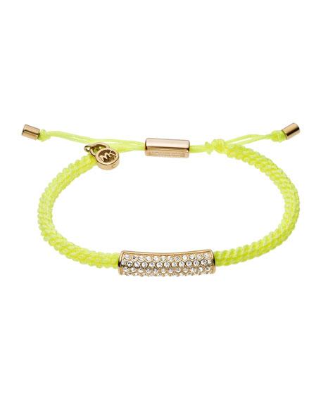 Macrame Cord Pave Bracelet, Yellow