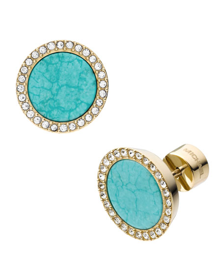 Pave Turquoise Slice Earrings
