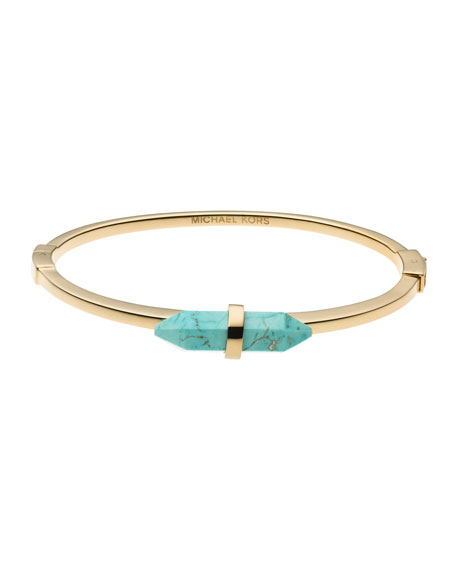 Thin Reconstituted Turquoise Bangle, Turquoise
