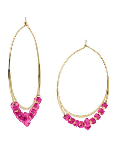 Jade Whisper Hoop Earrings, Pink