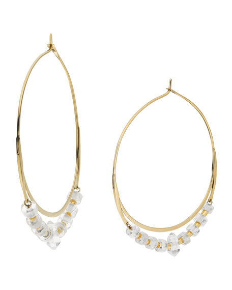 Quartz Whisper Hoop Earrings, Clear