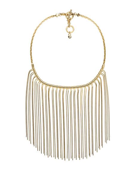 Fringe Bib Necklace, Golden