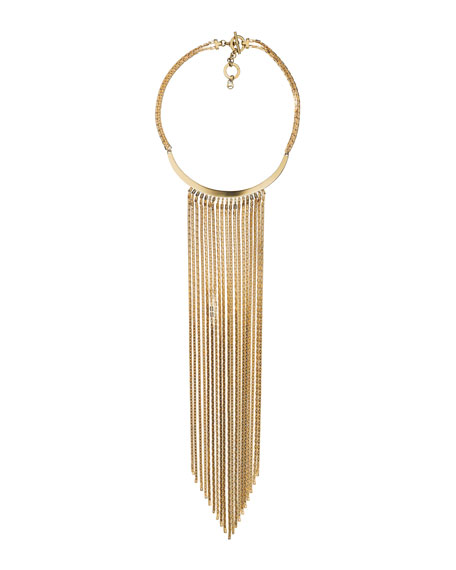 Fringe Collar Necklace, Golden